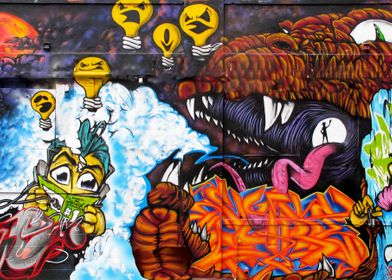 """Dragon's Lair"" Graffiti wall, New York City"