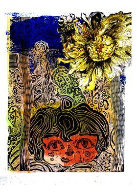 Wood-cut and aquatint etching mixed illustration: A gir ...