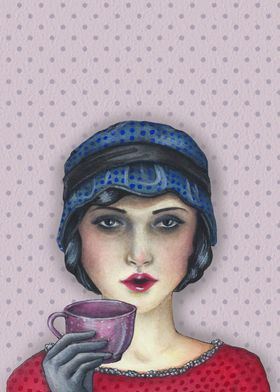 Mixed Medium- A woman dressed in 20's - 30's fashion, e ...