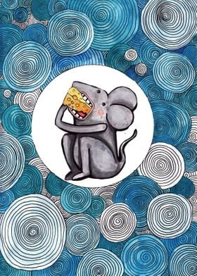 Grey little mouse is eating cheese. Outline of the draw ...