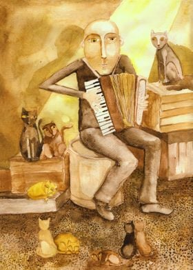 'Cat's music'. Life has many colors, this w ...