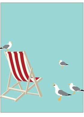 BEACH CHAIR poster. Illustration in the style of Tom Pu ...