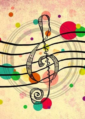 Hand drawn Treble Clef, patterned design within, multic ...