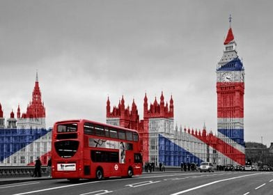 An unusual twist on the Red London Bus.  The Union Jack ...