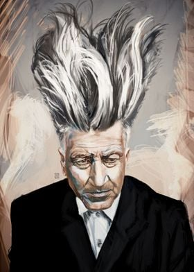 An hommage painted portrait of the great David Lynch
