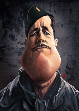 A caricature of Brad Pitt as inglorious Aldo Raine