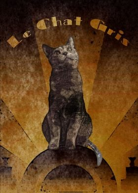 Le Chat Gris (The Grey Cat) rendered in the Art Deco st ...