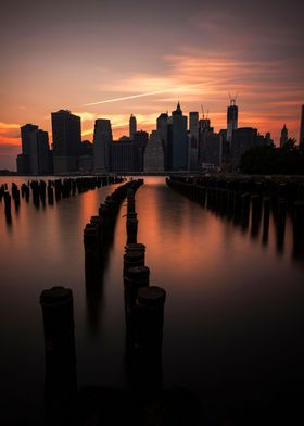 Manhattan at dusk as seen from Brooklyn.