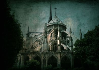Notre Dame, Paris. The rear side of the cathedral, a si ...