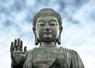 The Tian Tan Buddha statue at Ngong Ping on Lantau Isla ...