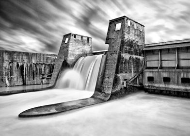 The Isar reservoir dam north of Bad Tölz, Bavaria, Germ ...