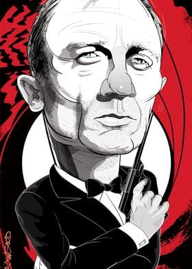 A humorous caricature of Daniel Craig as James Bond