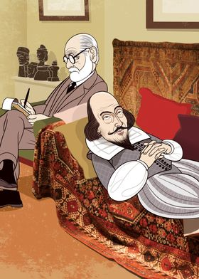 Sigmund Freud analysing William Shakespeare