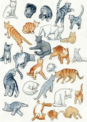 Hey internet! I drew as many cats as I could. Here you  ...