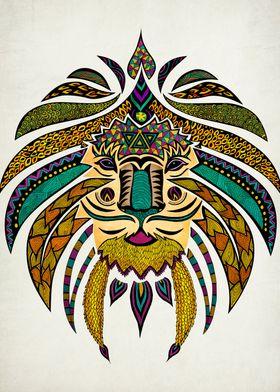 """""""Emperor Tribal Lion"""" Technique rapidograph pen on bris ..."""