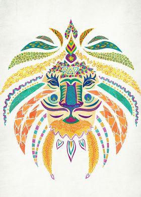 """Whimsical Tribal Lion"""