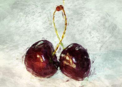 cherries in abstract painting style