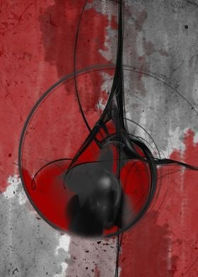 Abstract in black and red CB