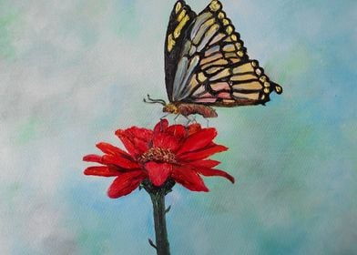 another bright, colorful original oil painting on a dis ...