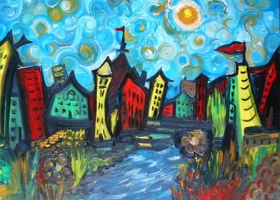 Van Gogh inspired painting of a whimsical fun town with ...