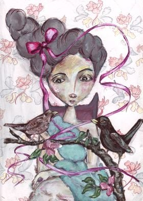 Romantic girly wall art titled A Birds Tale