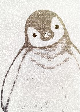 The Little Intellectual Penguin - typography art
