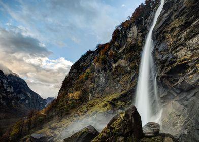 Foroglio waterfall in Bavona Valley (Switzerland)