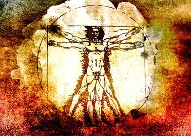 Vitruvian Man - Leonardo Da Vinci Tribute Art -  Waterc ...