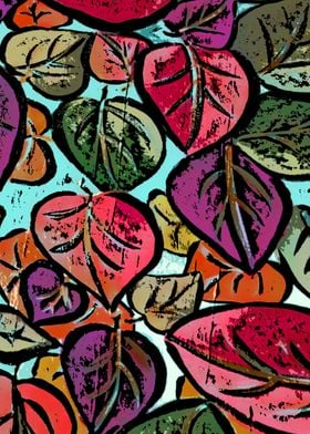 Colorful leaves acryl pain