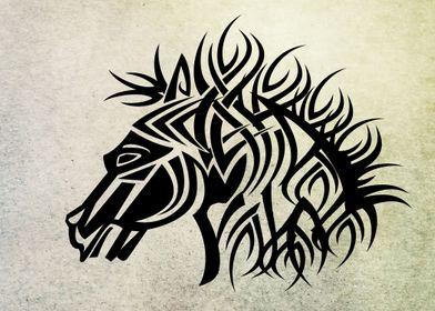 Tribal horse - Vector with grunge background. I hope yo ...
