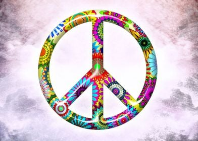 Peace!!! Peace Sign with retro flowery pattern and mode ...