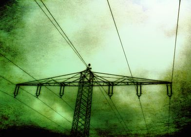 Power pole with green texture