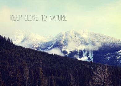 Photograph of the Cascade mountains with typography