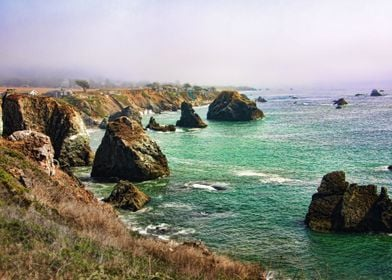 photograph of the foggy California coastline