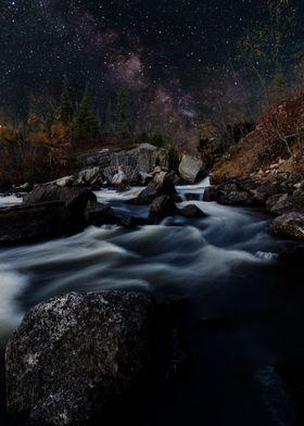 Milky way rising over Tulabi Falls