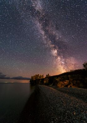 Milky way rising over Hecla island in Manitoba