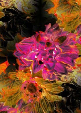 WOW POW is the name of this unique digital floral artwo ...
