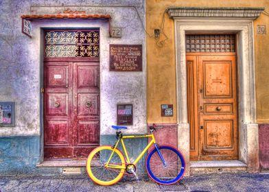 Cycling around on my yellow bike I fell on this strange ...