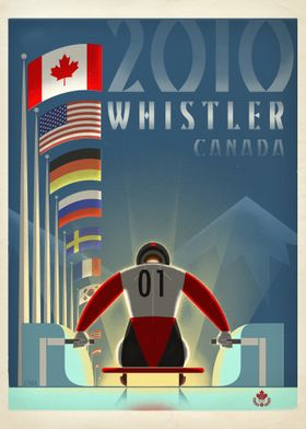 Graphic print of the 2010 Olympic Luge events in Whistl ...