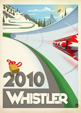 Graphic print of the 2010 Olympic Bobsled events held i ...