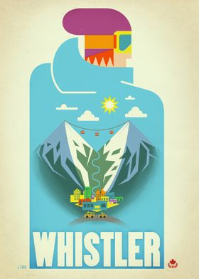 Graphic print of Whistler Village on a beautiful Blue B ...