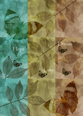 Inspirational collage with leaves and butterflies and t ...