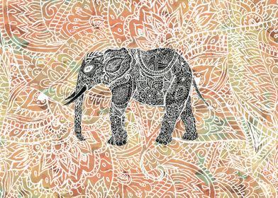 Tribal Paisley Elephant Colorful Henna Pattern ethnic ...