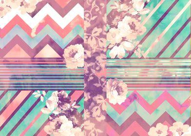 Retro Pink Turquoise Floral Stripe Chevron. elegant, s ...