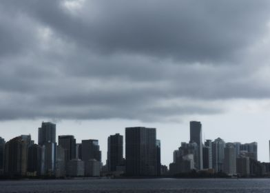 Downtown Miami on a stormy day