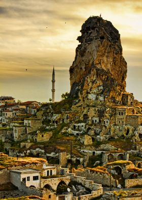 One of the amazing rock formed castles in Cappadocia, T ...