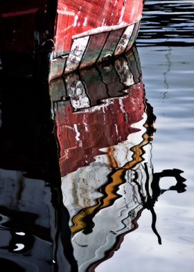 The melting reflection of a boat in Docklands, Melbourn ...