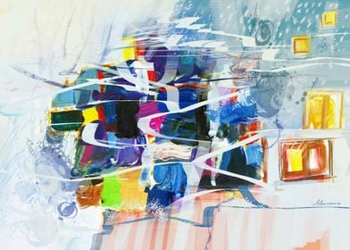 My winter mood - digital abstract painting mixed with o ...