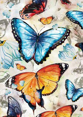 Original butterflies watercolor illustrations mixed wit ...