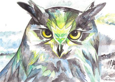 Dreamy Owl, watercolour illustration